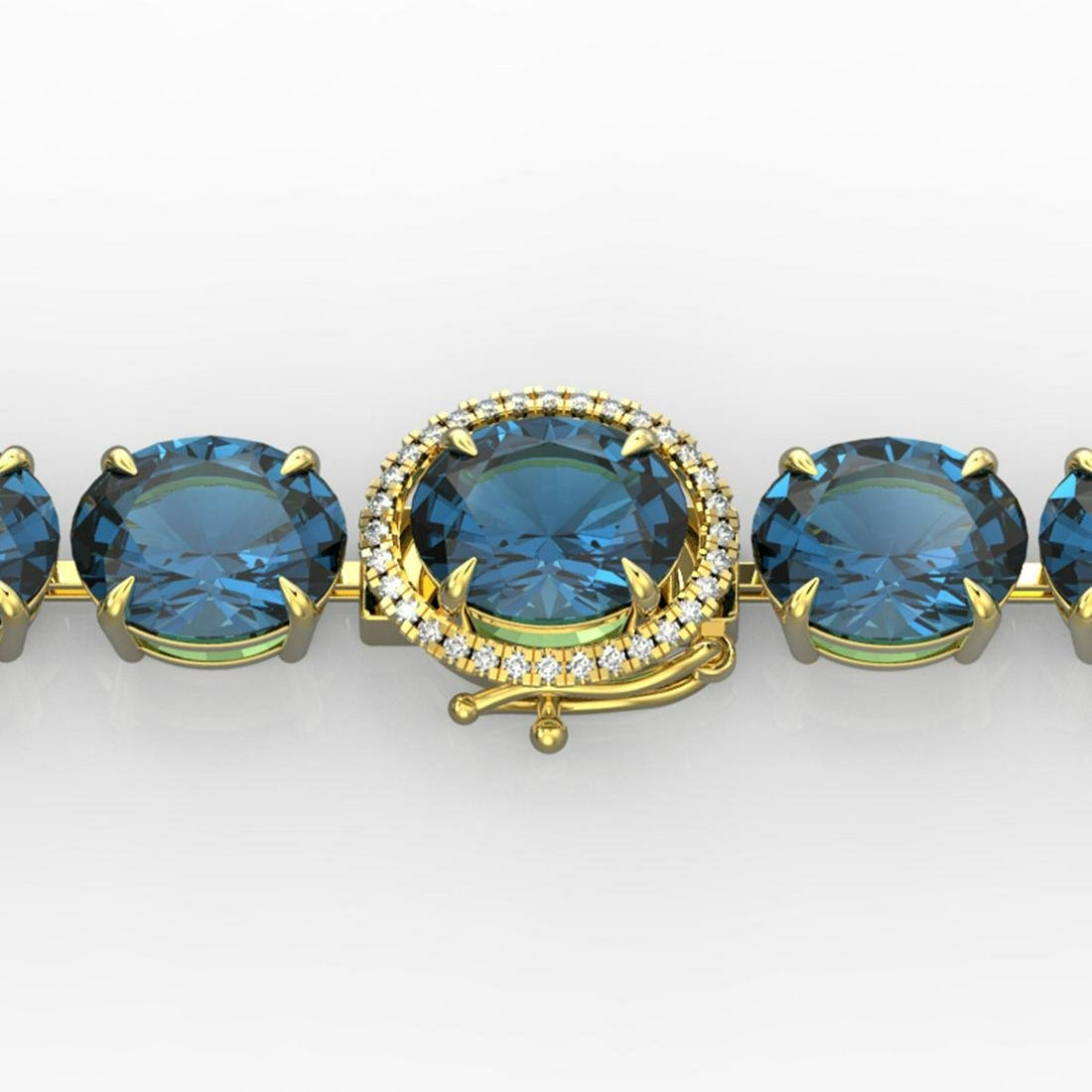 79 ctw London Blue Topaz & Diamond Bracelet 14K Yellow