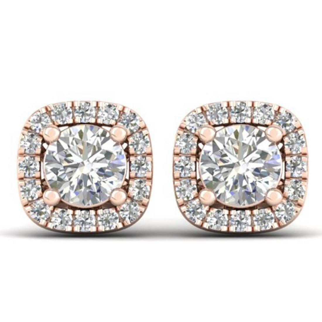1.08 ctw VS/SI Diamond Stud Halo Earrings 18K Rose Gold