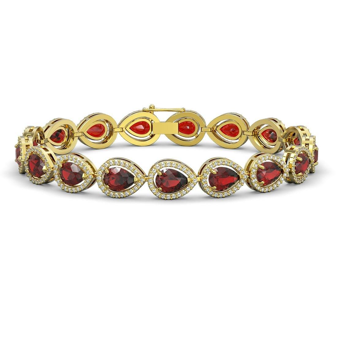 17.44 ctw Garnet & Diamond Halo Bracelet 10K Yellow