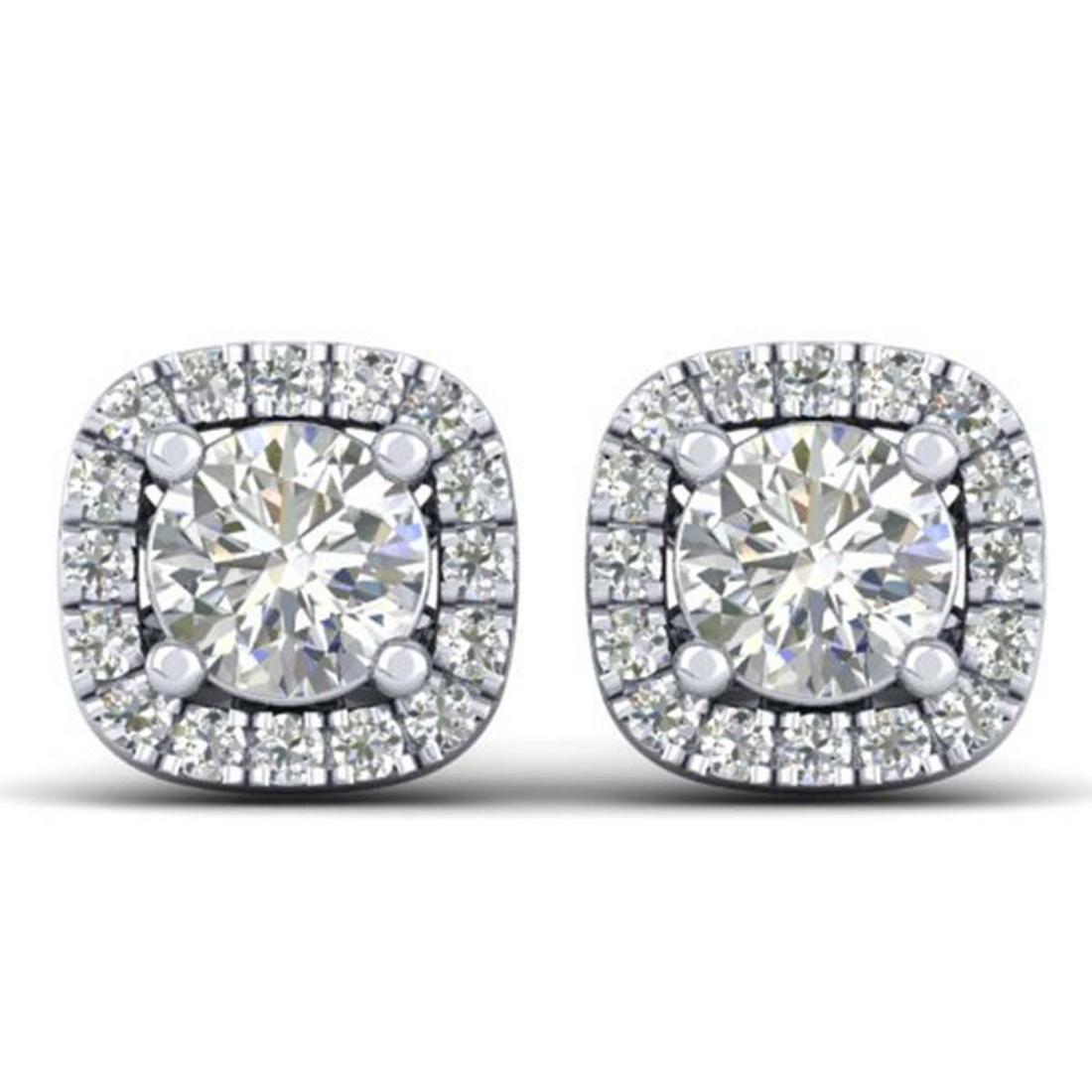 1.08 ctw VS/SI Diamond Stud Halo Earrings 18K White