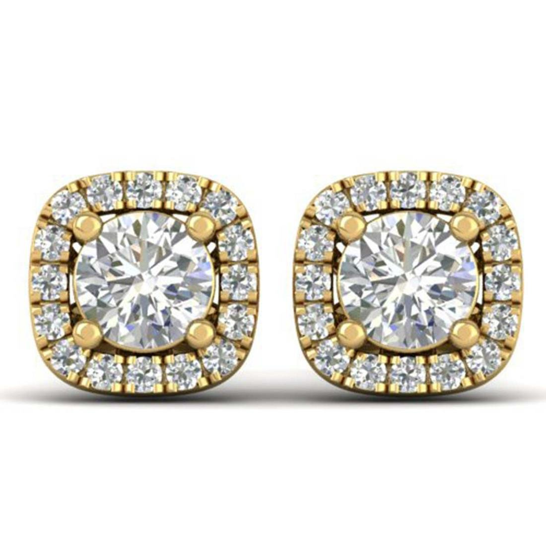 1.08 ctw VS/SI Diamond Stud Halo Earrings 18K Yellow
