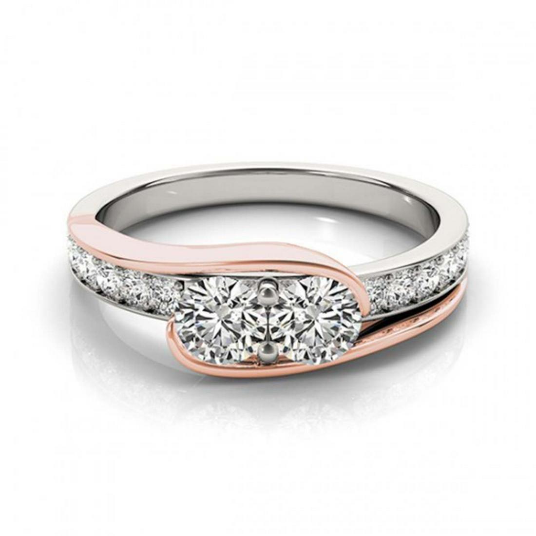 1.45 ctw VS/SI Diamond 2 Stone Ring 14K White & Rose