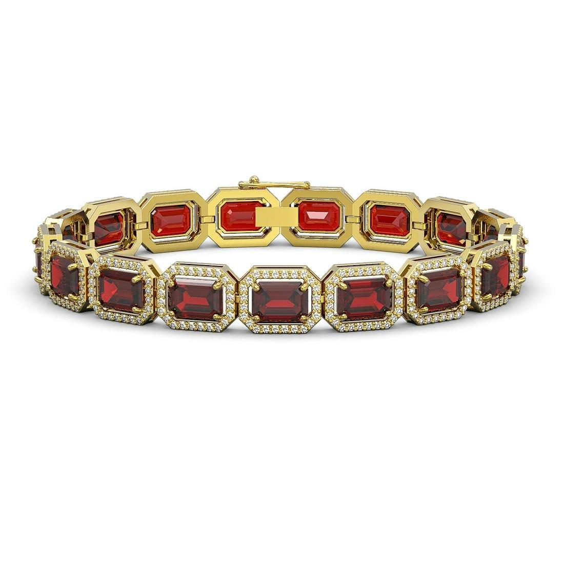 26.21 ctw Garnet & Diamond Halo Bracelet 10K Yellow
