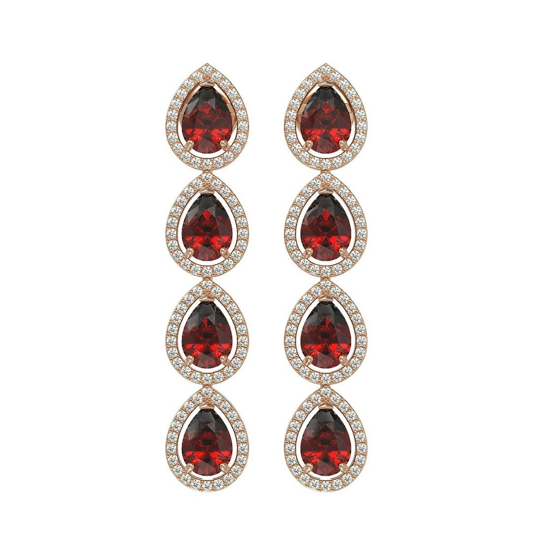 8.2 ctw Garnet & Diamond Halo Earrings Rose 10K Rose