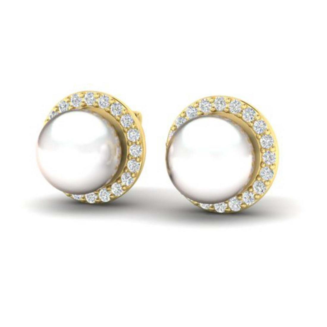 0.50 ctw VS/SI Diamond & Pearl Earrings 18K Yellow Gold