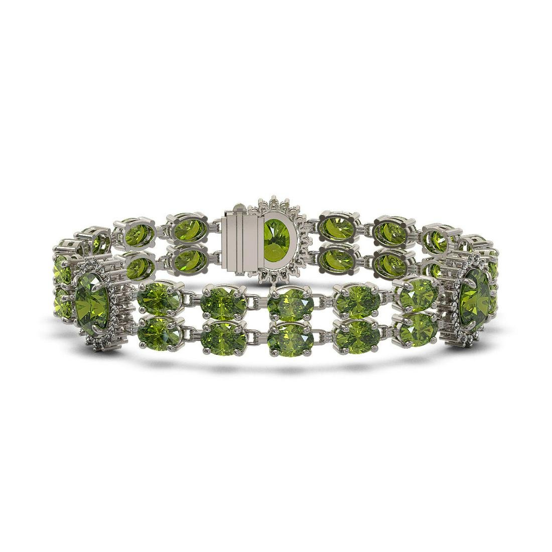 17.79 ctw Tourmaline & Diamond Bracelet 14K White Gold