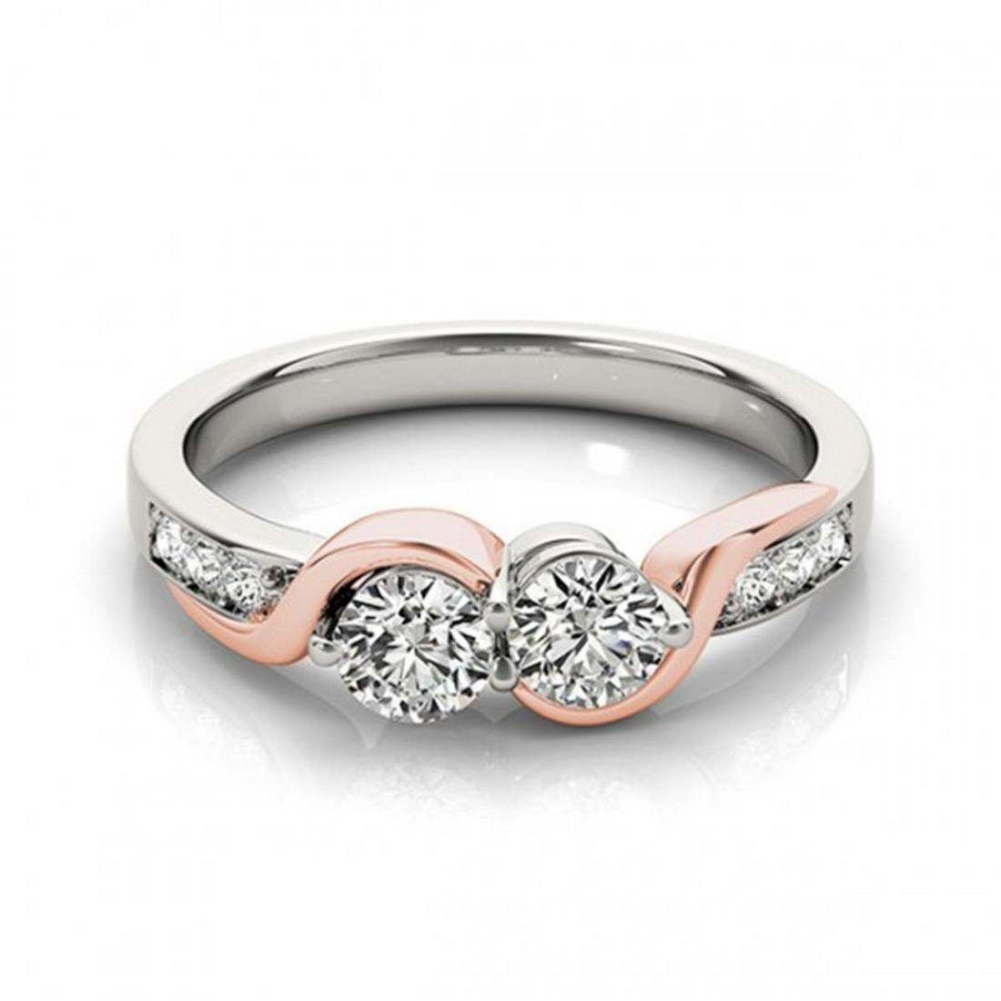 1.25 ctw VS/SI Diamond 2 Stone Ring 14K White & Rose