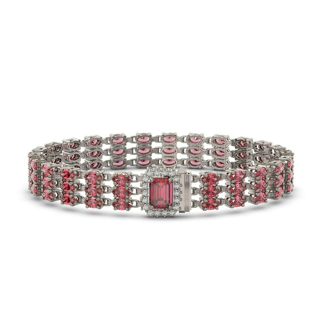 25.49 ctw Tourmaline & Diamond Bracelet 14K White Gold