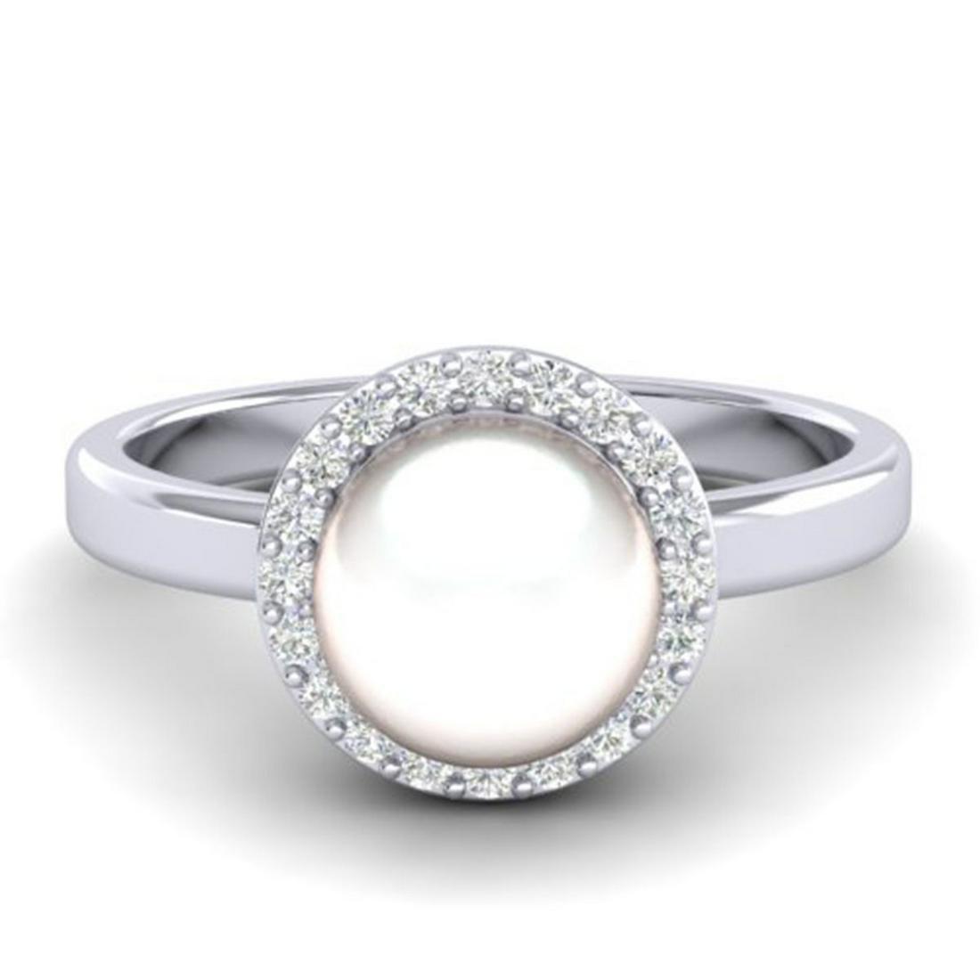 0.25 ctw VS/SI Diamond & Pearl Ring 18K White Gold -
