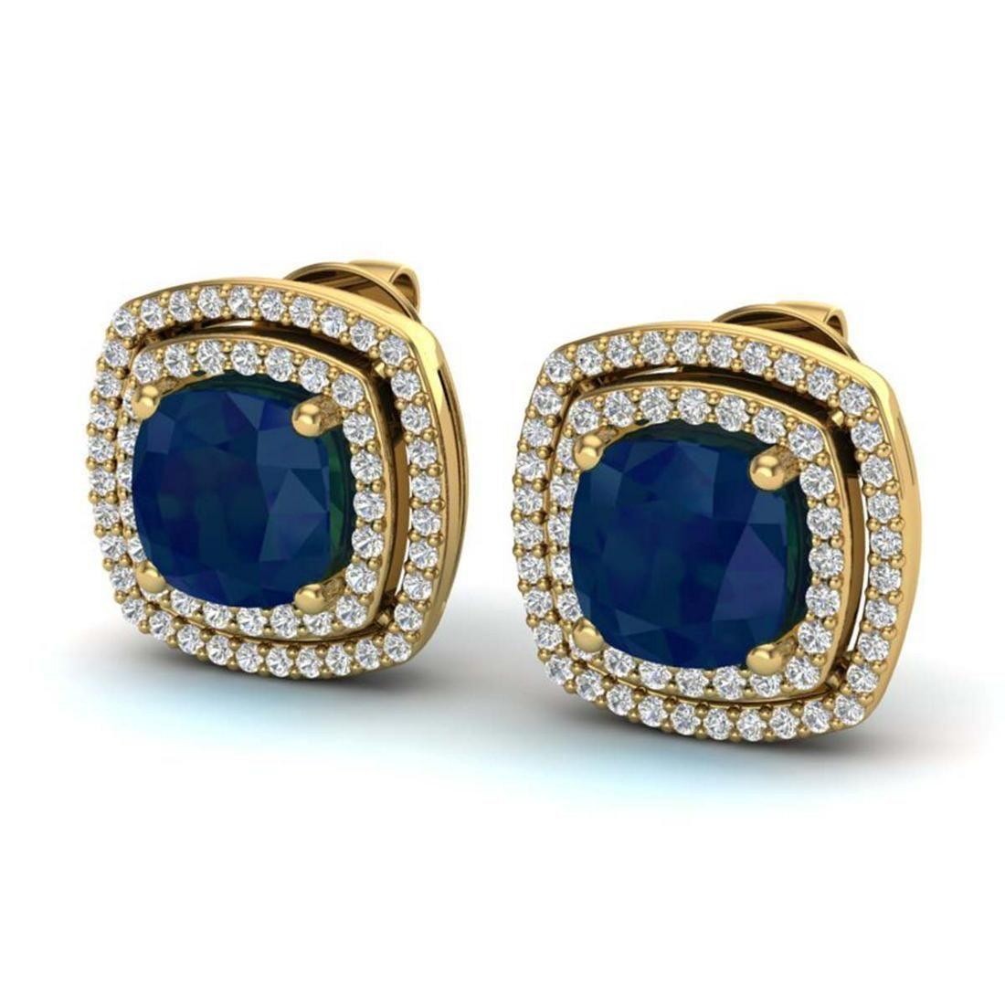 495 ctw Sapphire VSSI Diamond Earrings 18K Yellow