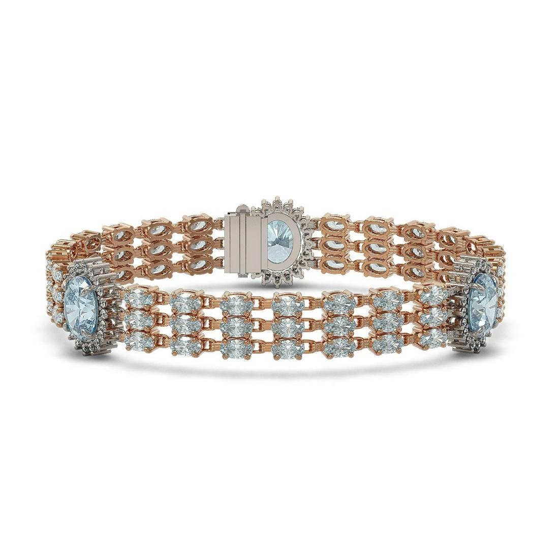 31.24 ctw Sky Topaz & Diamond Bracelet 14K Rose Gold -