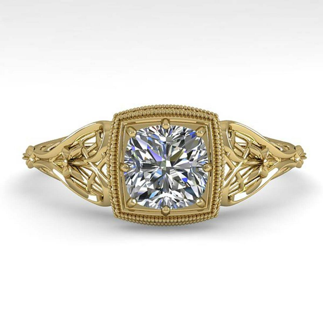 0.50 ctw VS/SI Cushion Diamond Ring Art Deco 14K Yellow