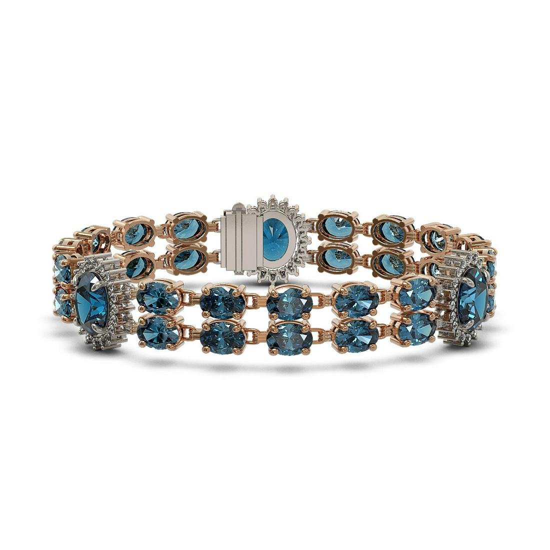 19.3 ctw London Topaz & Diamond Bracelet 14K Rose Gold