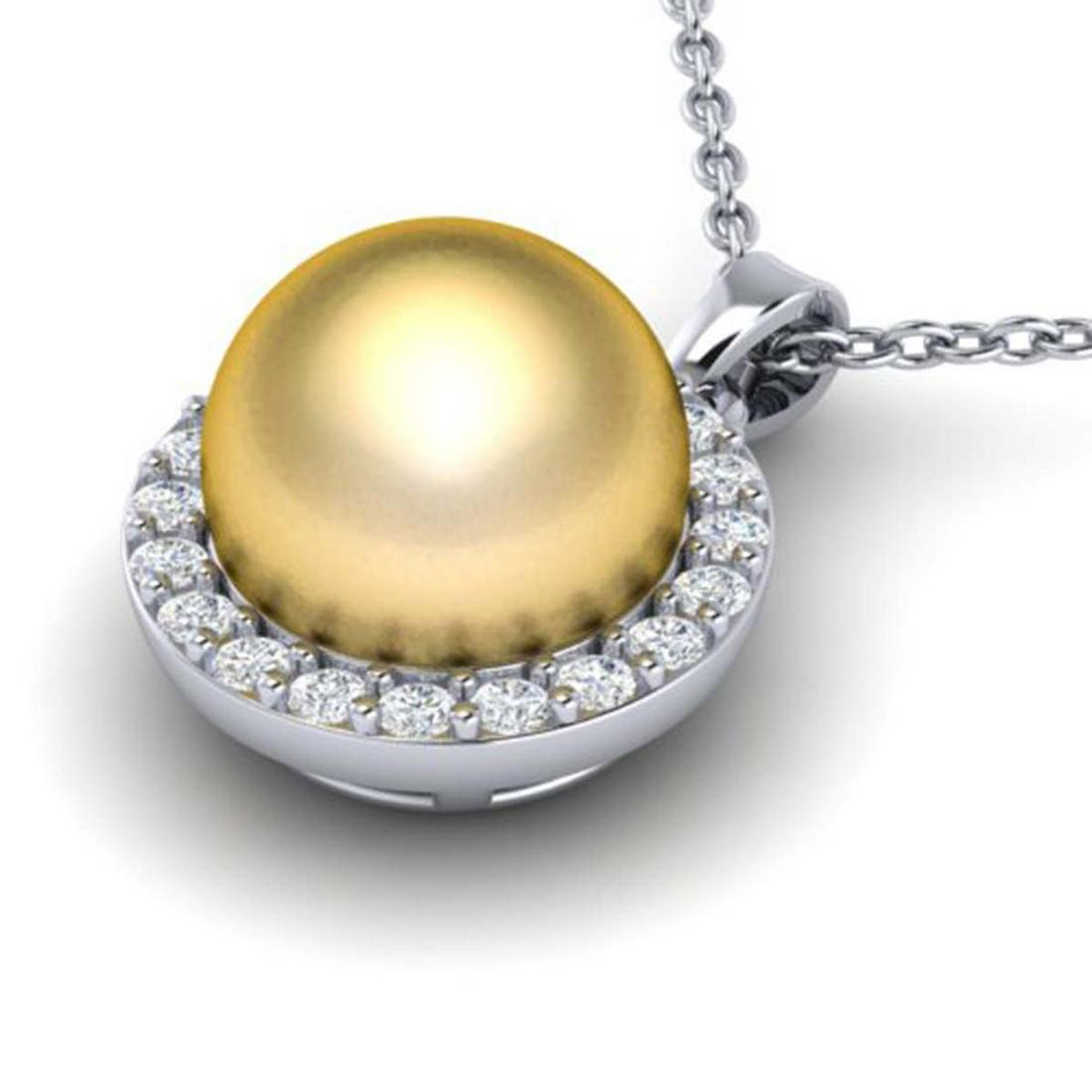 0.25 ctw Diamond & Golden Pearl Necklace 18K White Gold