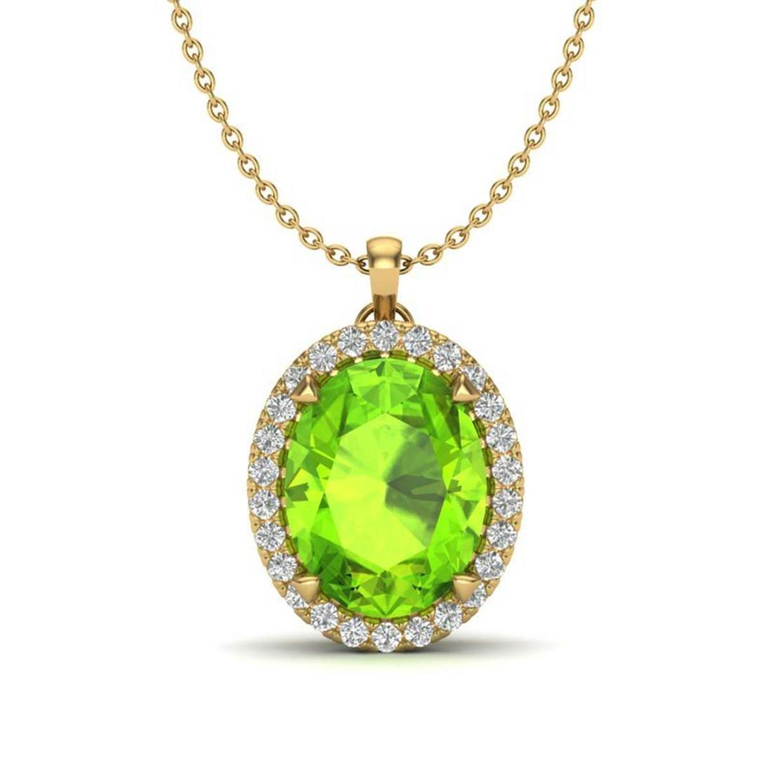 2.75 ctw Peridot & VS/SI Diamond Halo Necklace 18K