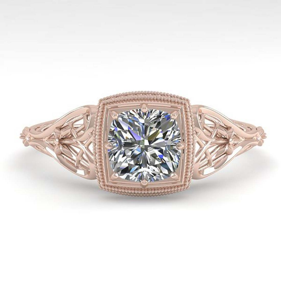 0.50 ctw VS/SI Cushion Diamond Ring Art Deco 14K Rose