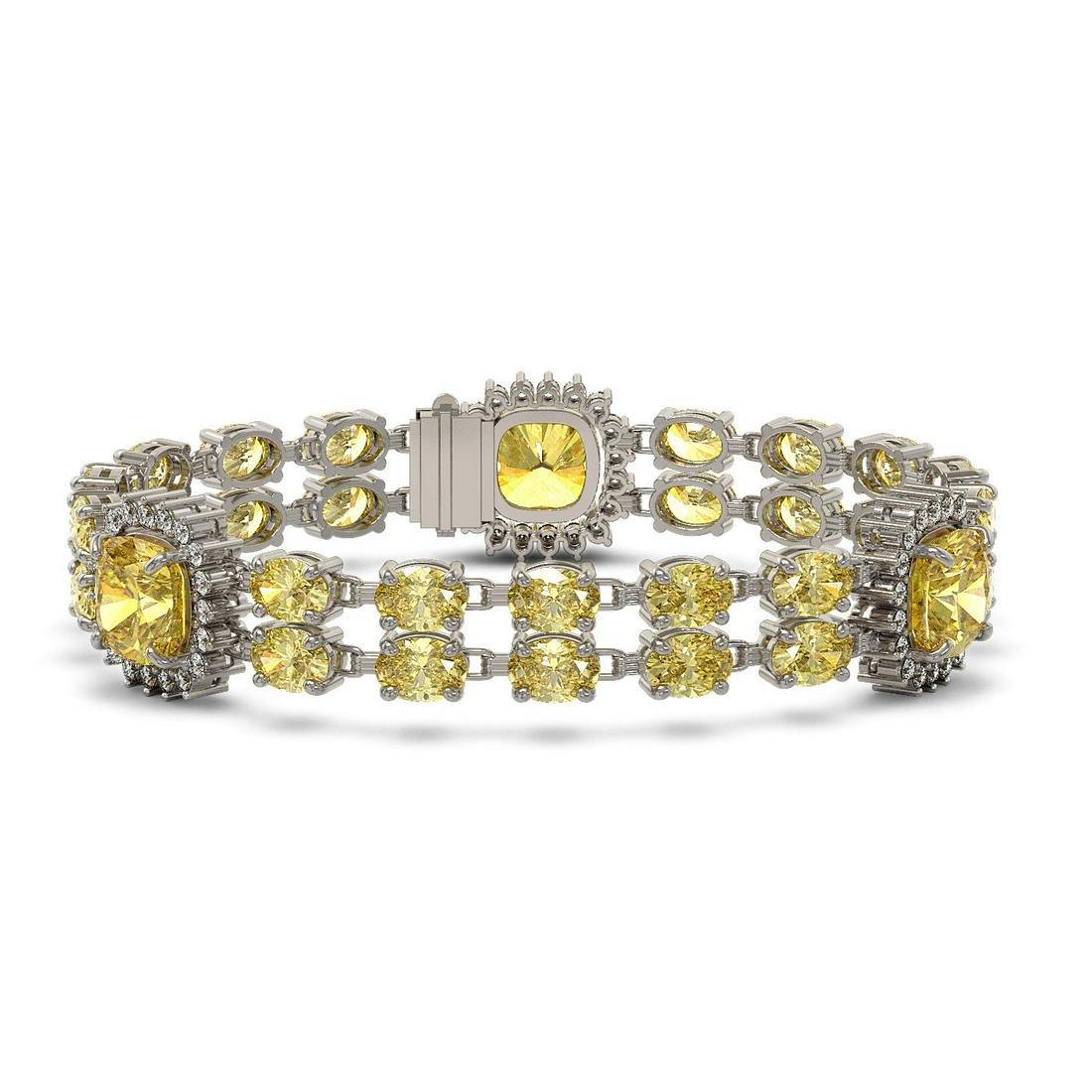 15.95 ctw Citrine & Diamond Bracelet 14K White Gold -