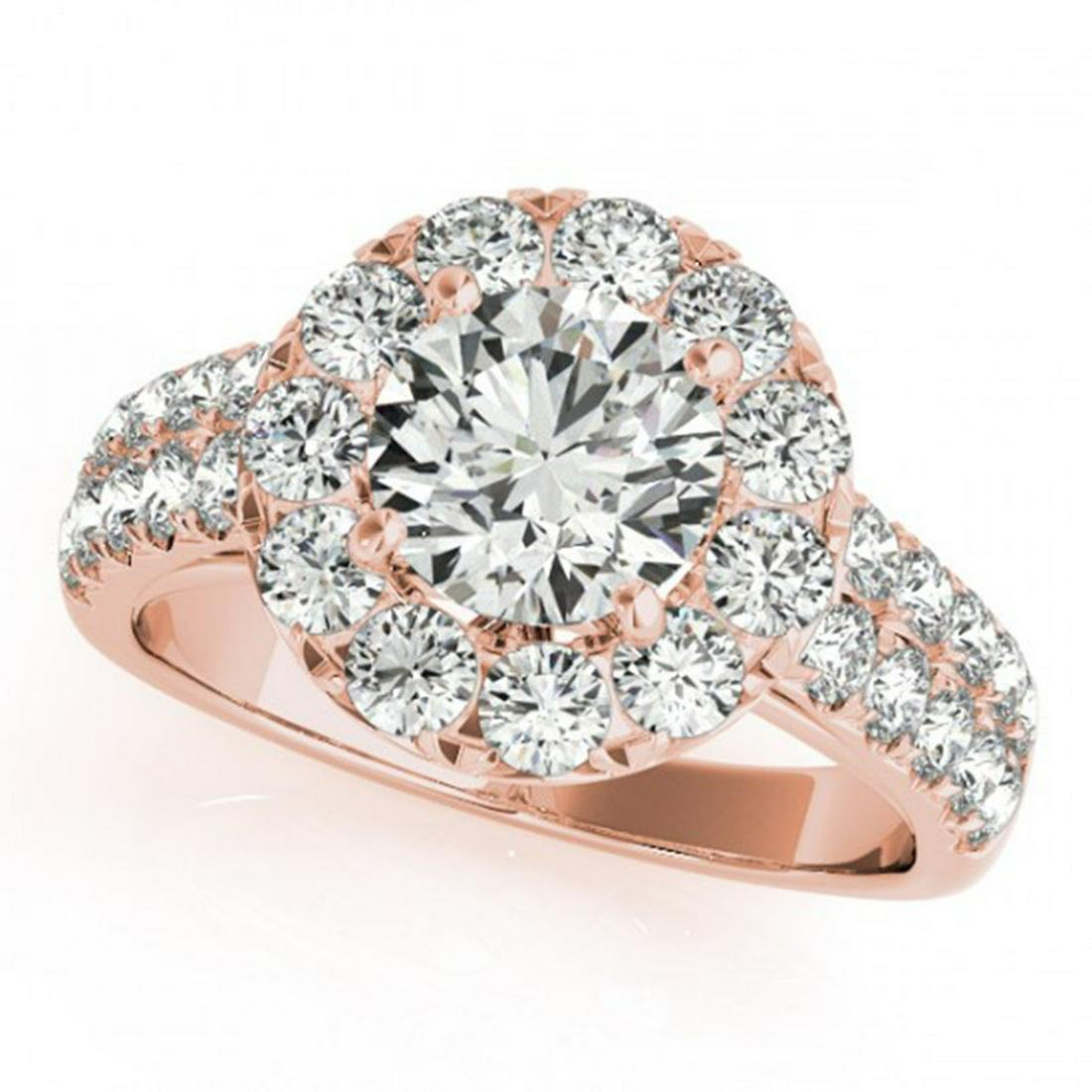 1.75 ctw VS/SI Diamond Solitaire Halo Ring 14K Rose