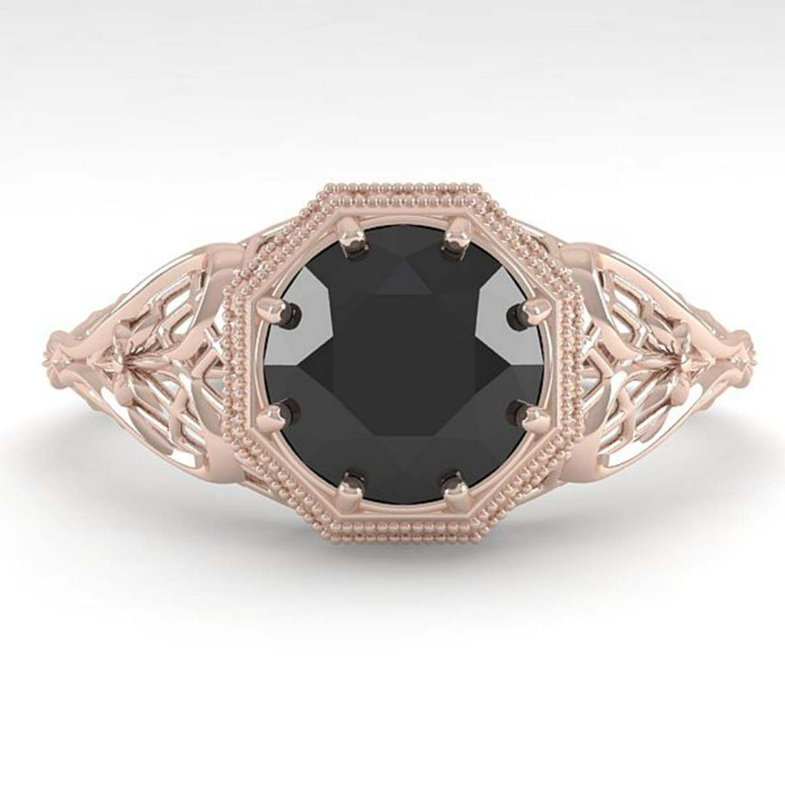 1.50 ctw Black Diamond Ring Art Deco 14K Rose Gold -
