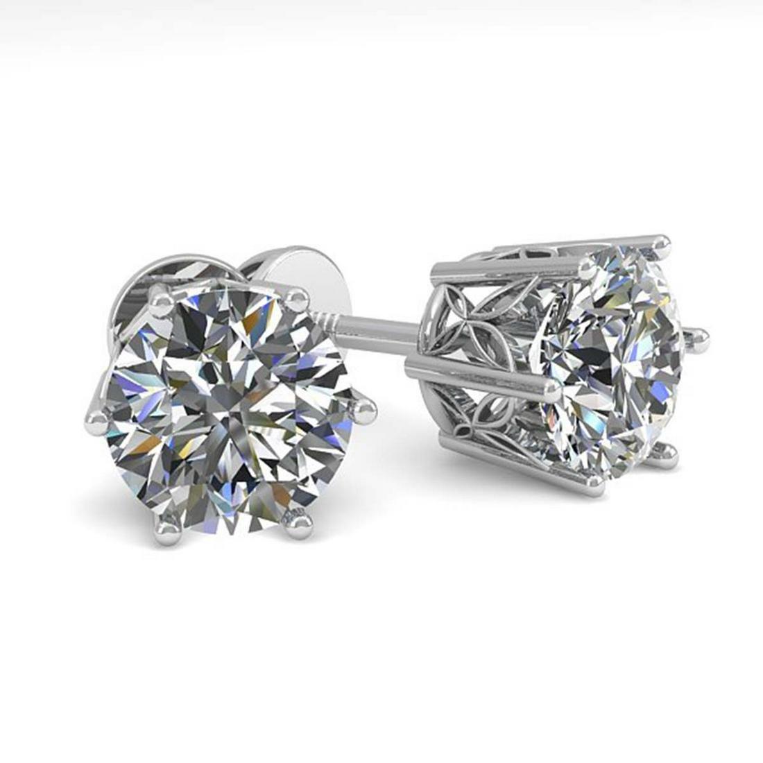 2.03 ctw VS/SI Diamond Stud Art Deco Earrings 14K White