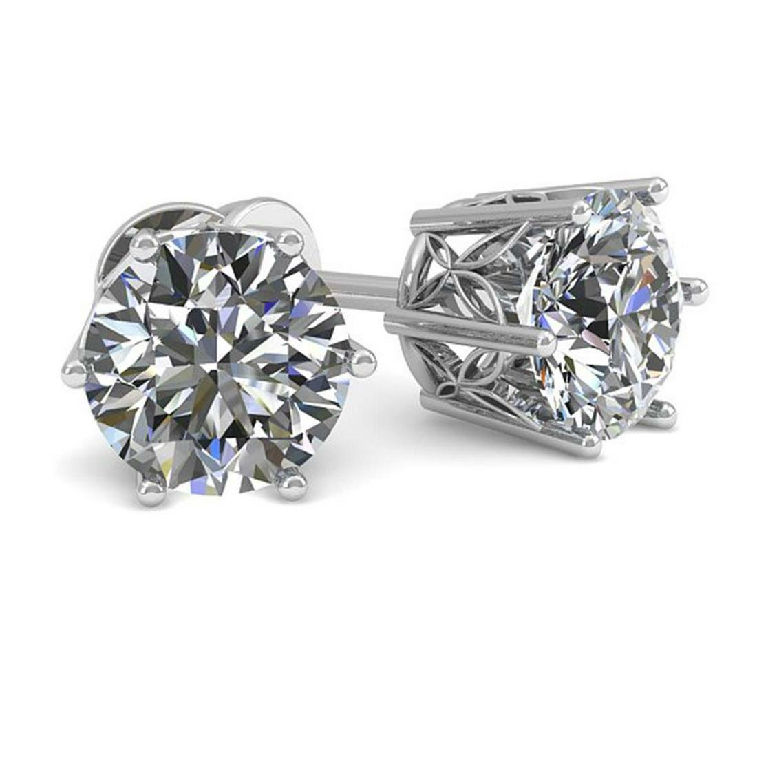 1.05 ctw VS/SI Diamond Stud Art Deco Earrings 14K White