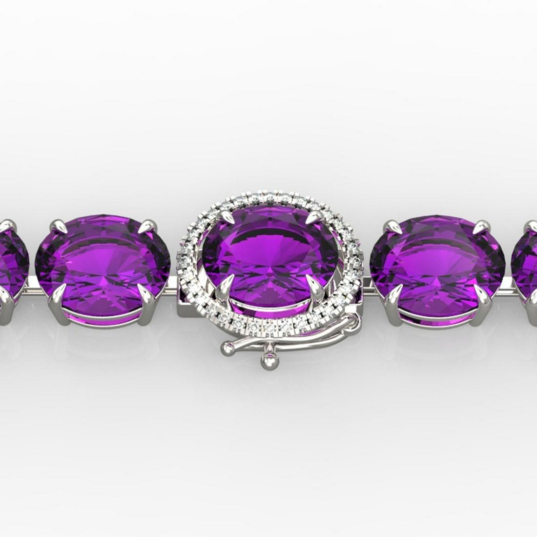 78 ctw Amethyst & Diamond Bracelet 14K White Gold -
