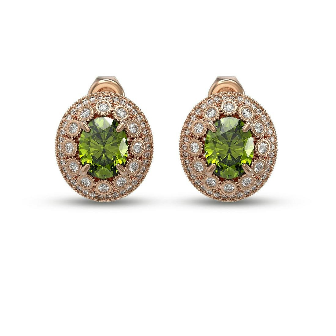 8.04 ctw Tourmaline & Diamond Victorian Earrings 14K