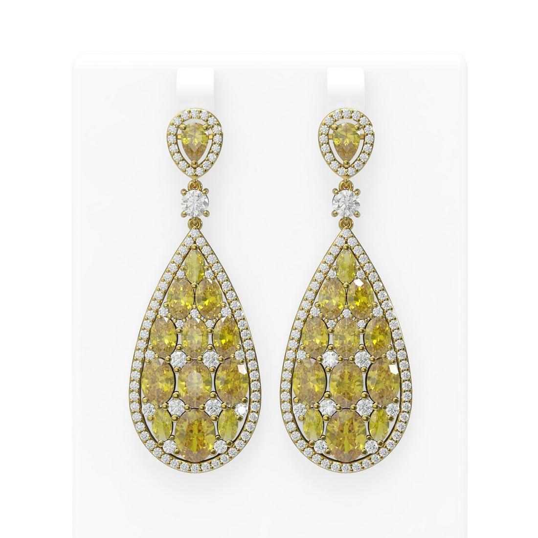 24.01 ctw Canary Citrine & Diamond Earrings 18K Yellow