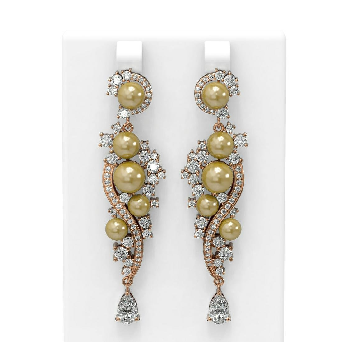 5.13 ctw Diamond & Pearl Earrings 18K Rose Gold -