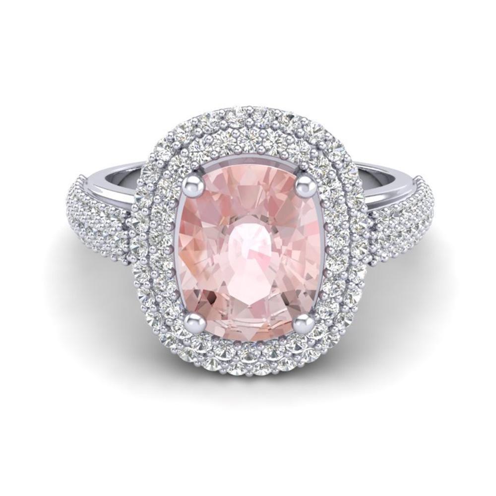 3.25 ctw Morganite & Micro Pave VS/SI Diamond Ring 18k