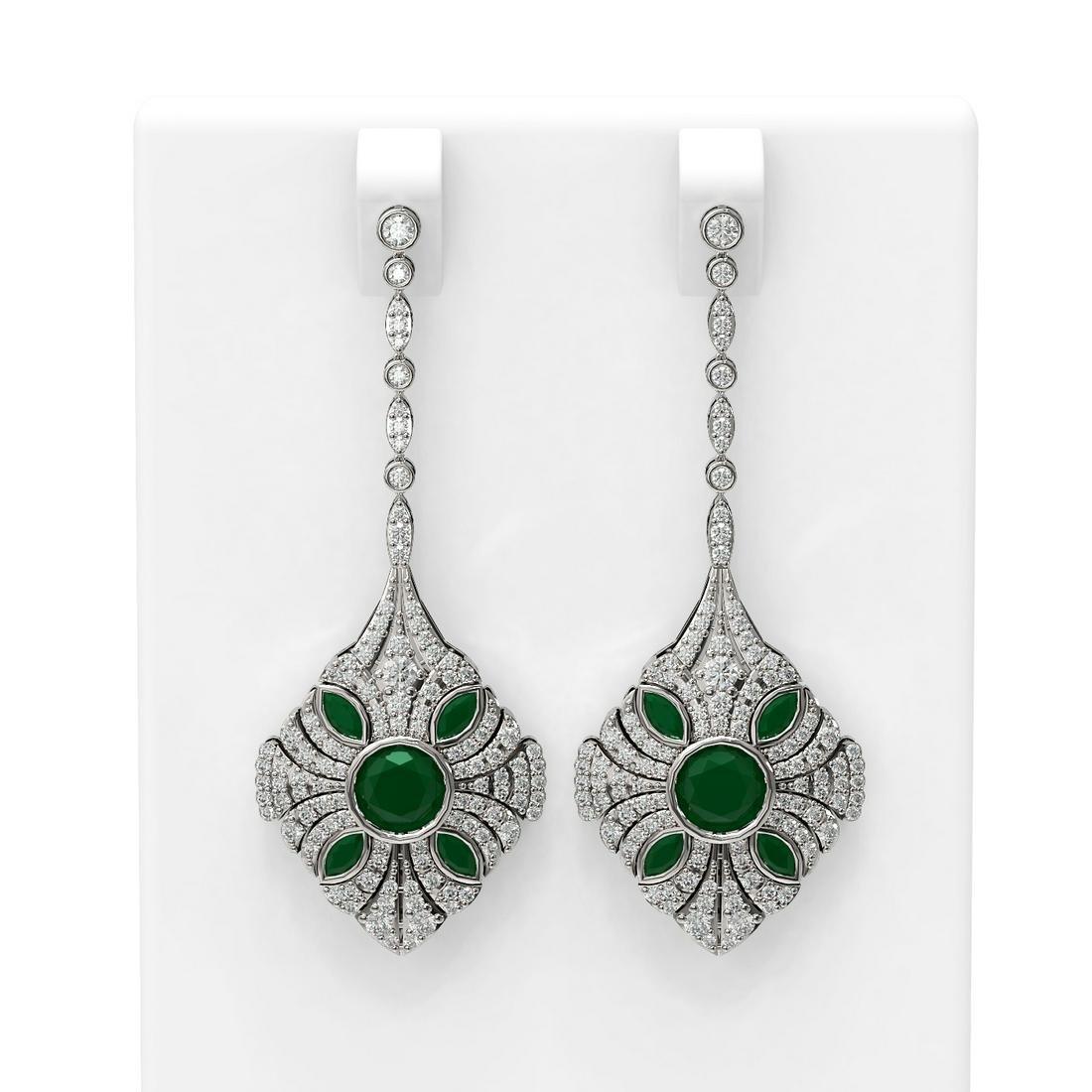 4.19 ctw Emerald & Diamond Earrings 18K White Gold -
