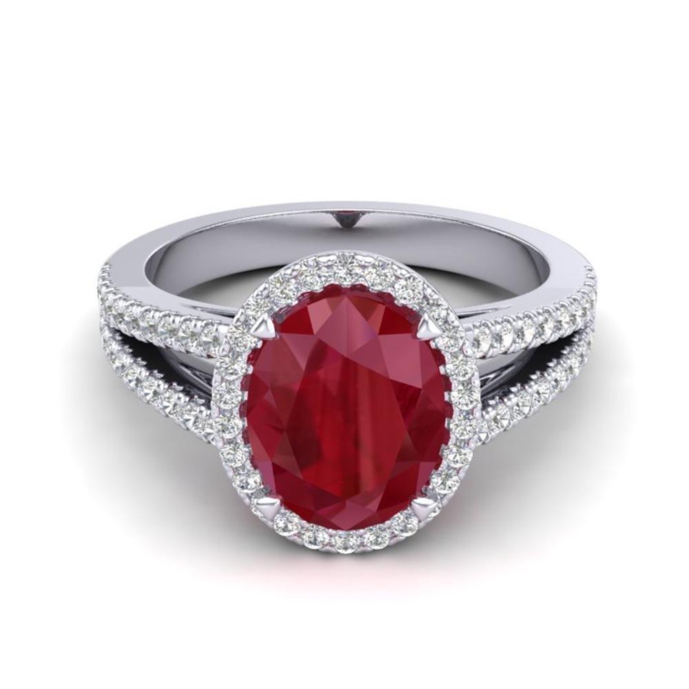 3 ctw Ruby & Micro Pave VS/SI Diamond Halo Ring 18k