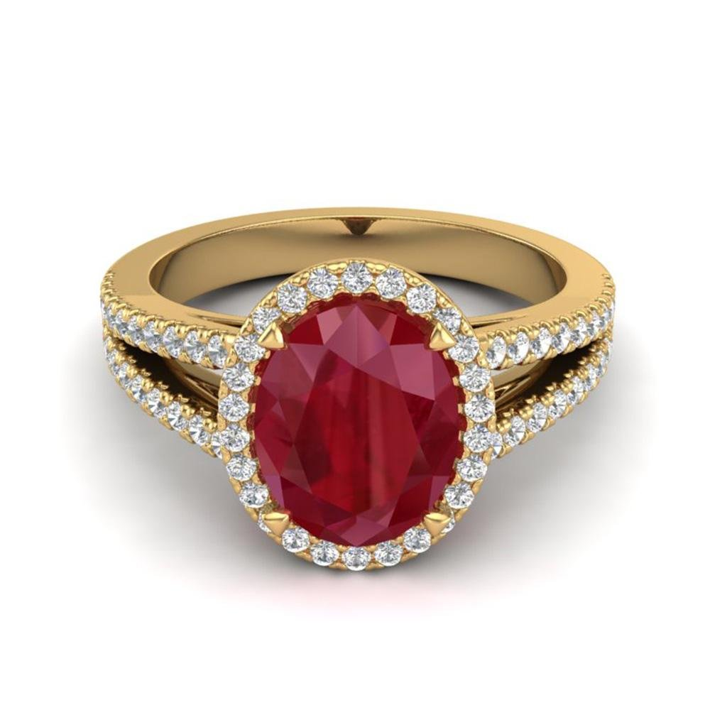 3 ctw Ruby & Micro Pave VS/SI Diamond Halo Ring 18k