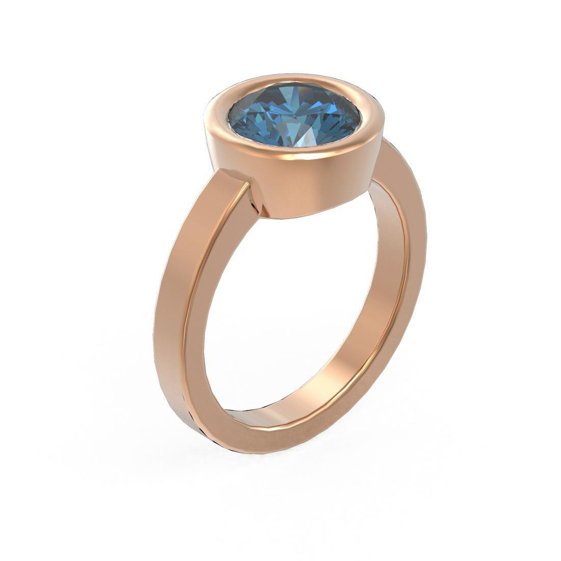 2 ctw Intense Blue Diamond Ring 18K Rose Gold -