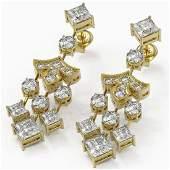 55 ctw Princess Cut Diamond Designer Earrings 18K