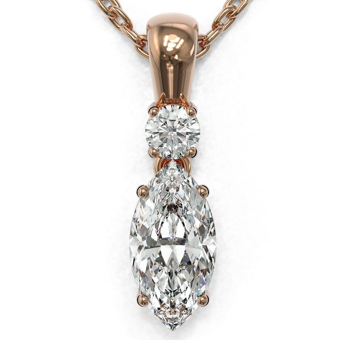 0.6 ctw Marquise Cut Diamond Designer Necklace 18K Rose