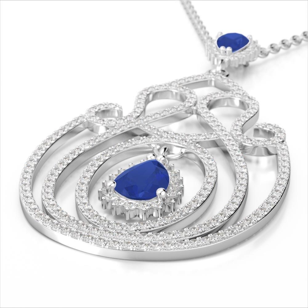 3.20 ctw Sapphire & Micro Pave Diamond Heart Necklace