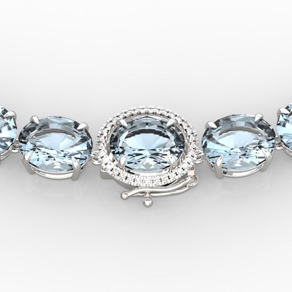 177 ctw Sky Blue Topaz & Diamond Micro Pave Necklace