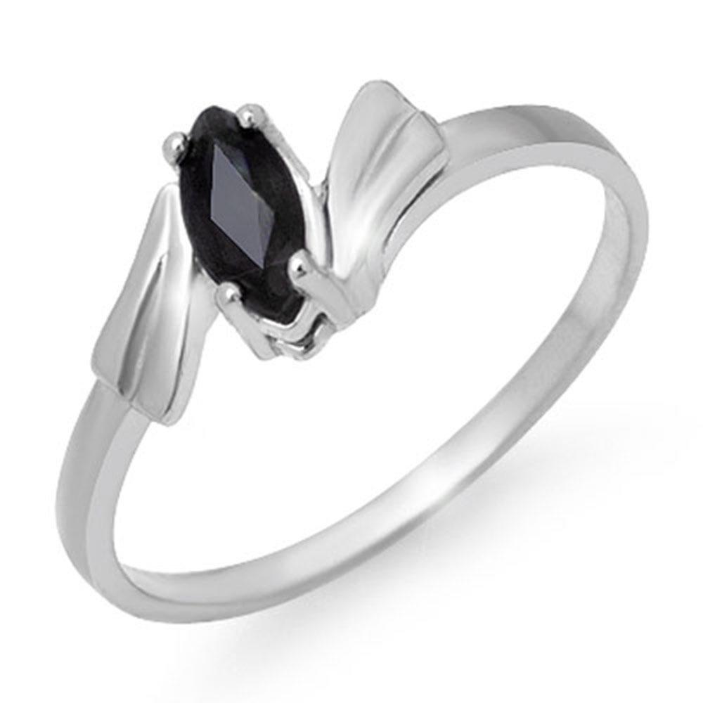 0.35 ctw Blue Sapphire Ring 10k White Gold - REF-7F5M