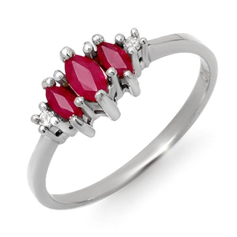 0.54 ctw Ruby & Diamond Ring 10k White Gold - REF-9R8K