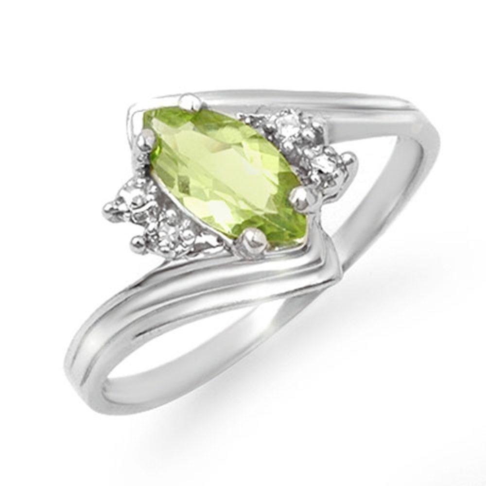 0.48 ctw Peridot & Diamond Ring 10k White Gold -
