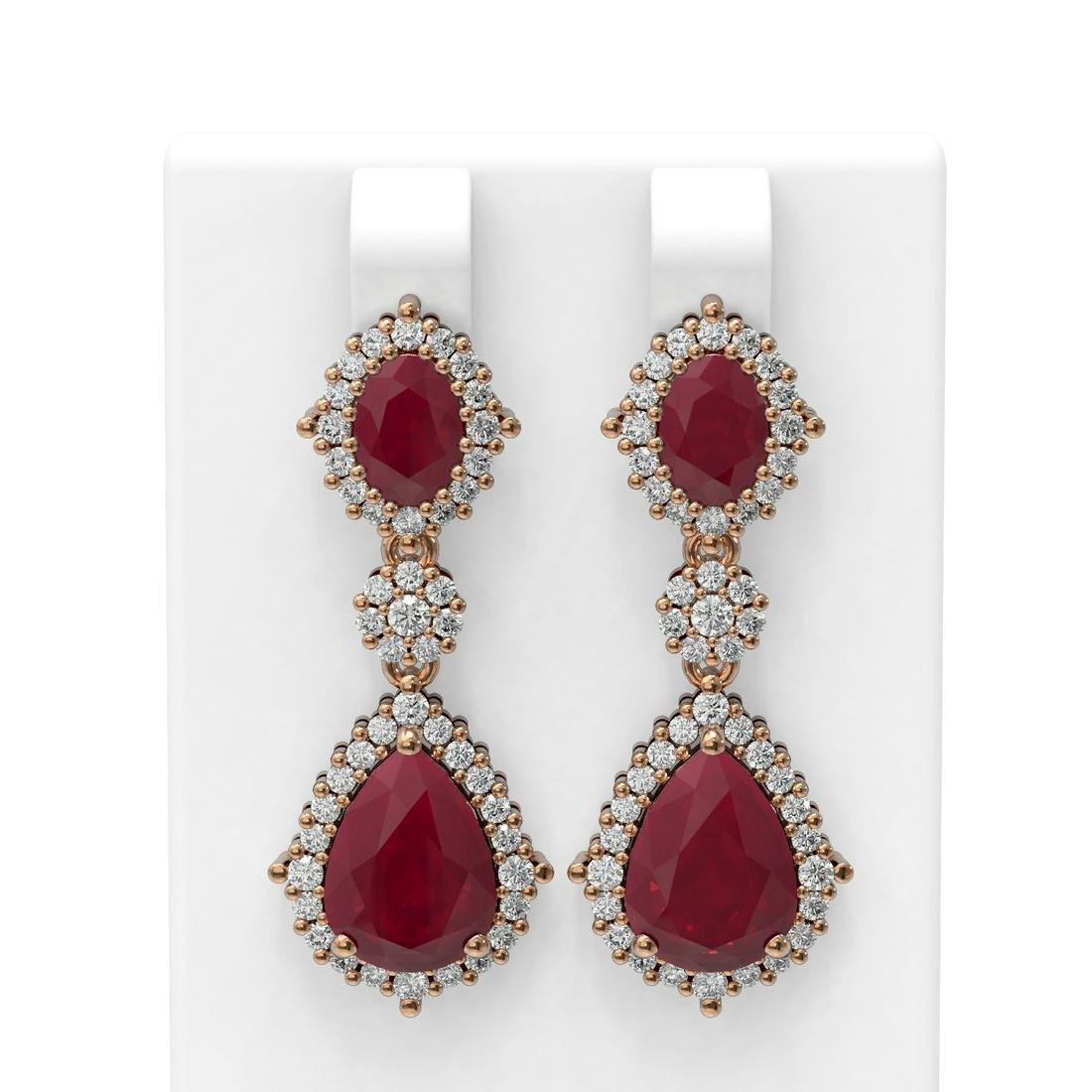 11.32 ctw Ruby & Diamond Earrings 18K Rose Gold -
