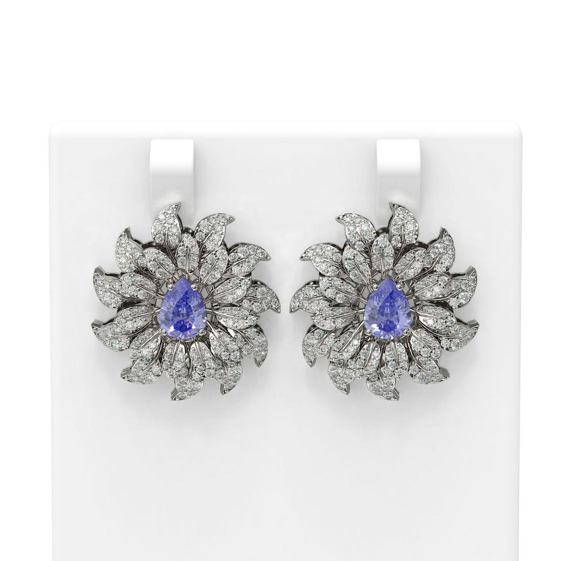 5.87 ctw Tanzanite & Diamond Earrings 18K White Gold -