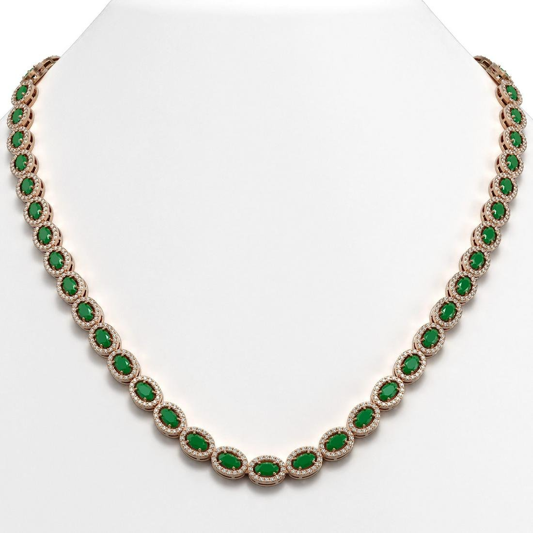 26.38 ctw Emerald & Diamond Micro Pave Halo Necklace