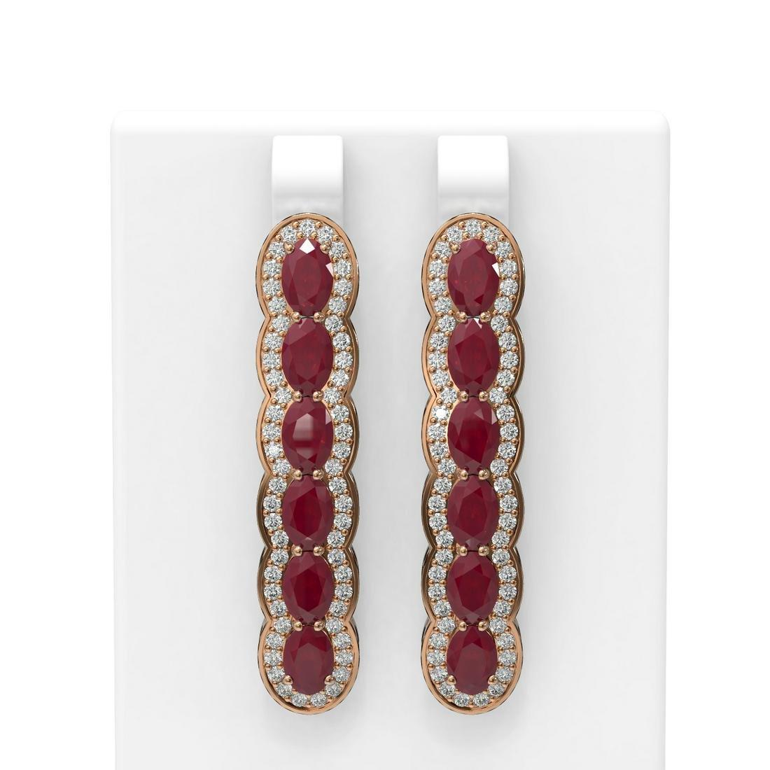 9.85 ctw Ruby & Diamond Earrings 18K Rose Gold -