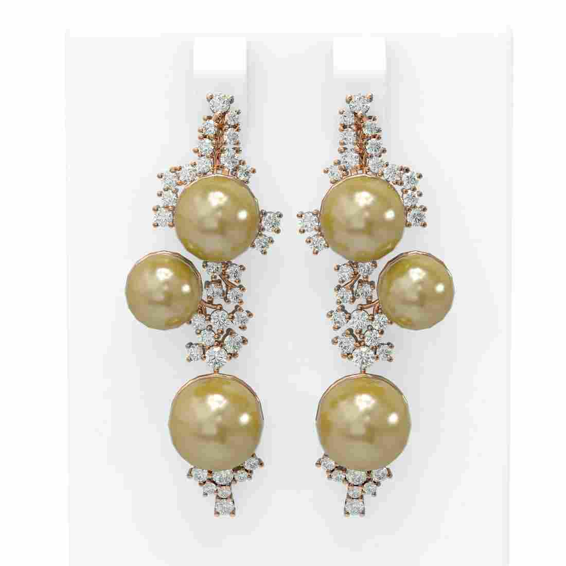 2.43 ctw Diamond & Pearl Earrings 18K Rose Gold -