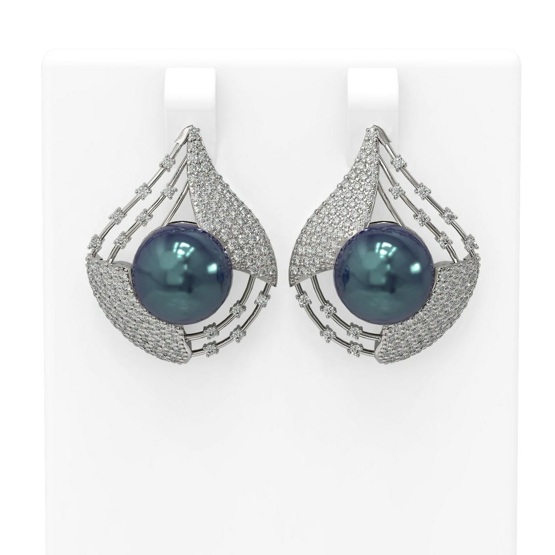 2.3 ctw Diamond & Pearl Earrings 18K White Gold -