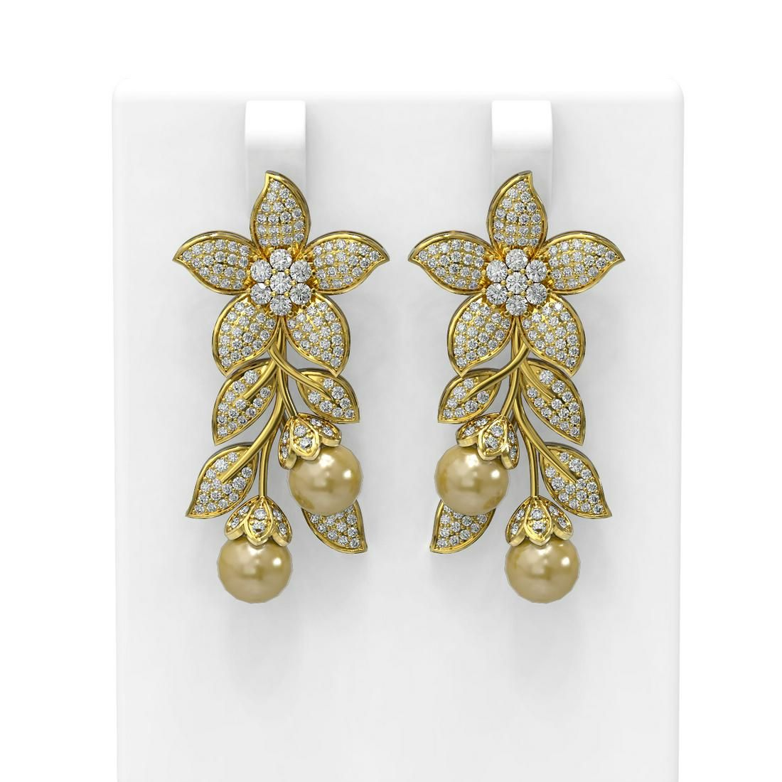 3.05 ctw Diamond & Pearl Earrings 18K Yellow Gold -