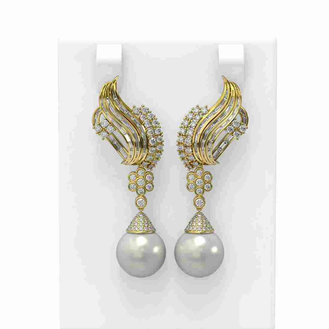 3.73 ctw Diamond & Pearl Earrings 18K Yellow Gold -