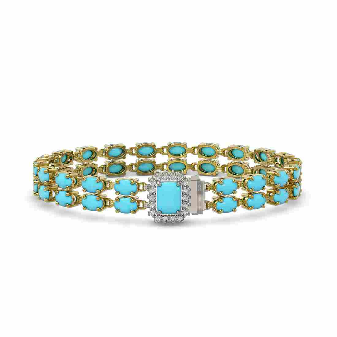 13.04 ctw Turquoise & Diamond Bracelet 14K Yellow Gold